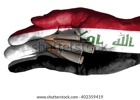 Flag of Syria overlaid the hand of an adult man holding four bullets. Conceptual image for war, violence, conflicts. Image isolated on white background - stock photo