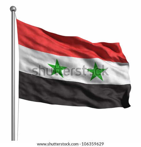 Flag of Syria. Rendered with fabric texture (visible at 100%). Clipping path included. - stock photo
