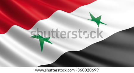 Flag of Syria waving in the wind. - stock photo