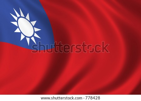Flag of Taiwan waving in the wind - stock photo