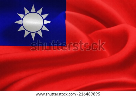 Flag of Taiwan  waving in the wind. Silk texture pattern - stock photo