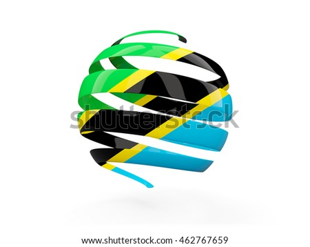 Flag of tanzania, round icon isolated on white. 3D illustration