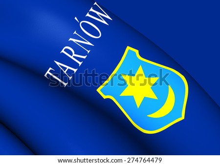 Flag of Tarnow, Poland. Close Up.