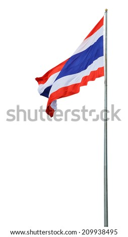 Flag of Thailand with flag pole - stock photo