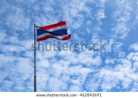 Flag of Thailand with the blue sky.