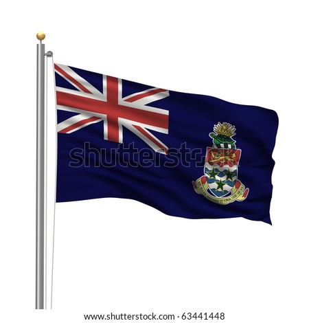 Flag of the Cayman Islands with flag pole waving in the wind over white background - stock photo