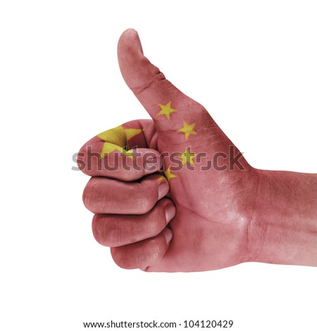 Flag of the china on men hand with a white background.
