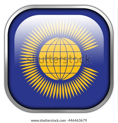 Flag of the Commonwealth of Nations, square glossy button - stock photo