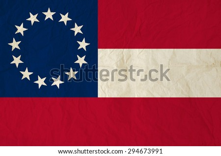 Flag of the Confederate States of America with old vintage paper texture - stock photo