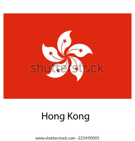 Flag  of the country hong kong.  illustration.  Exact colors.