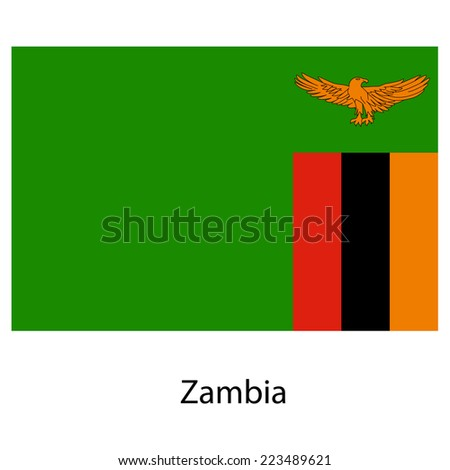 Flag  of the country  zambia.  illustration.  Exact colors.  - stock photo