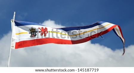 Flag of the county Mecklenburg-Vorpommern, Germany as a pennon - stock photo