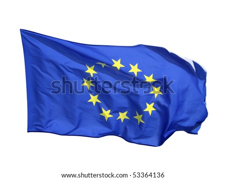 Flag of the EU, isolated on white background - stock photo