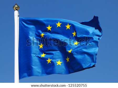 Flag of the European Union in the sun - stock photo