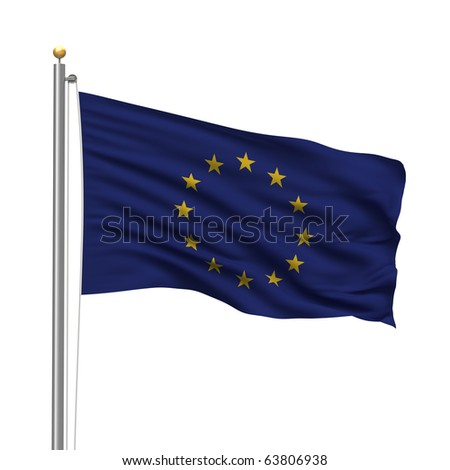 Flag of the European Union with flag pole waving in the wind over white background - stock photo