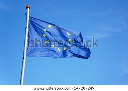 Flag of the European Union with yellow stars