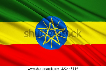 Flag of the Federal Democratic Republic of Ethiopia - adopted after the defeat of Ethiopias Marxist Derg regime. The emblem is intended to represent both the diversity and unity of the country. - stock photo