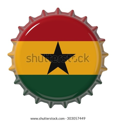 Flag of the Ghana on bottle cap. 3D rendering