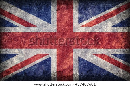 Flag of the Great Britain painted onto a rough wall - stock photo