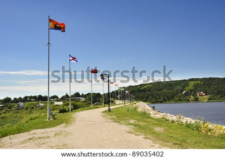 flag of the nations at the Minnedosa beach, Manitoba
