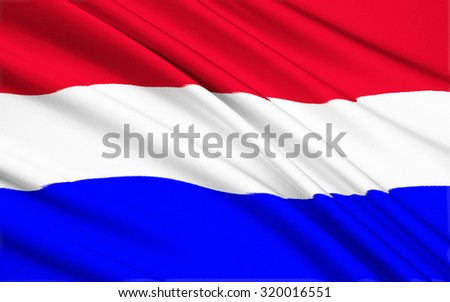 Flag of the Netherlands (Holland) - Variants of the flag have been in use since 1572, and in 1937 the flag was officially formalized as the national flag of the Kingdom of the Netherlands. - stock photo