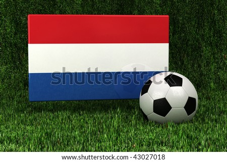 Flag of the Netherlands with soccer ball over grass background - very highly detailed render