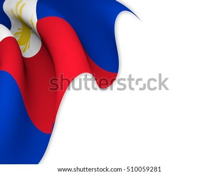 Flag of the Philippines close up while waving over a white background-3d rendering