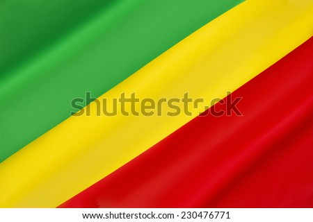 Flag of the Republic of the Congo - Adopted in 1959 until 1970, when the Peoples Republic of the Congo was established. The regime collapsed in 1991 and the new government restored the pre-1970 flag.  - stock photo