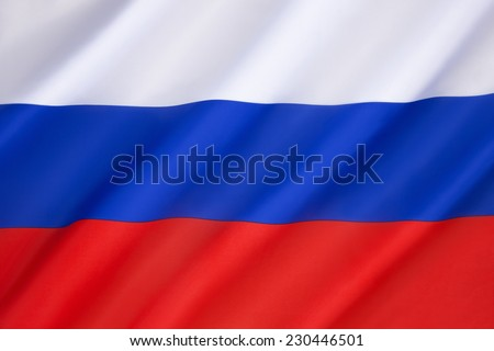 Flag of the Russian Federation - On the dissolution of the Soviet Union in 1991 the old flag (dates from 1696) was reinstated as the official flag of the Russian Federation on 11th December 1993.  - stock photo