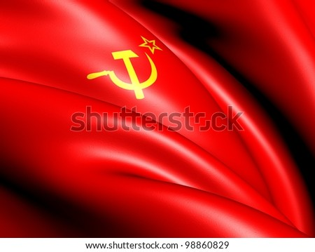Flag of the Soviet Union. Close Up.