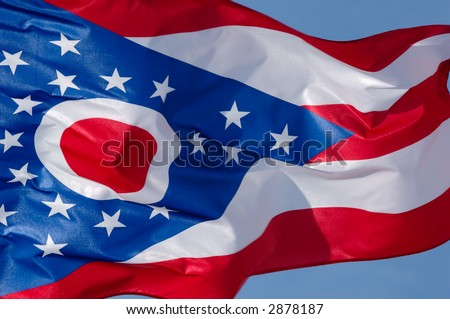 Flag of the state of Ohio flying in the wind. - stock photo