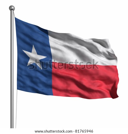 Flag of the Texas. Rendered with fabric texture (visible at 100%). Clipping path included. - stock photo