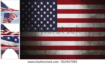 Flag of the United States , grunge  and strip with some different illustrations