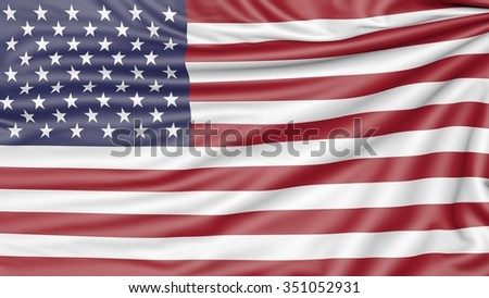 Flag of the United States of America, 3d illustration with fabric texture