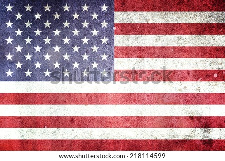 Flag of the United States of America. Grungy effect. - stock photo
