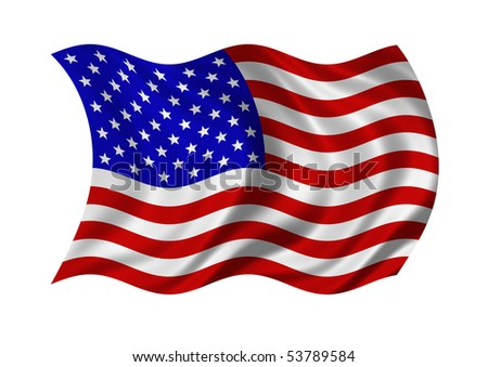 Flag of the United States of America isolated on white background