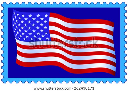 Flag of the United States of America on postage stamp - stock photo