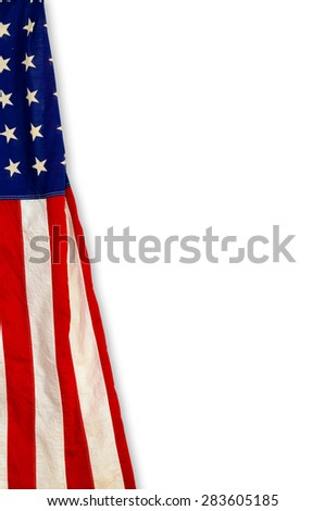 Flag of the United States of America on white background - stock photo