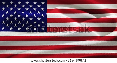 flag of the United States of America waving in the wind. Silk texture pattern