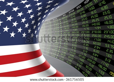 Flag of the United States of America with a large display of daily stock market price and quotations during economic booming period. The fate and mystery of US stock market, tunnel/corridor concept. - stock photo