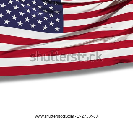 Flag of the United States of America with empty white space for your advertising text. Celebration background. American patriotic national symbol. 3d render illustrated image. - stock photo