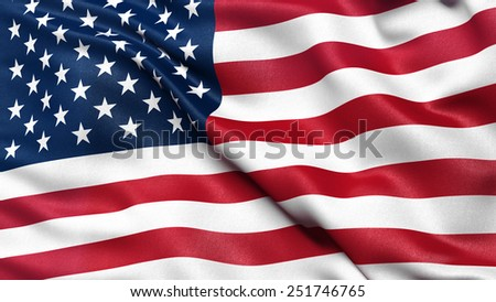 Flag of the United States of America with high fabric detail.