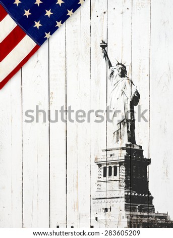 Flag of the United States of America with Statue of Liberty on white wood - stock photo