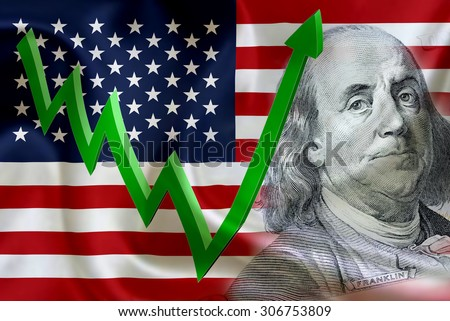 Flag of the United States of America with the face of Benjamin Franklin on US dollar 100 bill and a green arrow indicates the stock market enter booming period. - stock photo