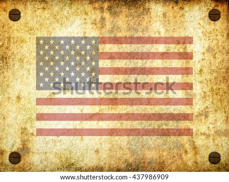 Flag of the United States painted on a rusty plate with screws, aged by time-3d illustration - stock photo