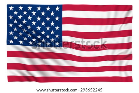 Flag of the USA , isolated on white.