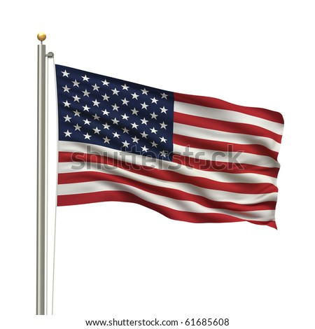 Flag of the USA the flag pole waving in the wind over white background - stock photo