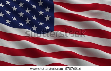 Flag of the USA waving in the wind - very highly detailed fabric texture - stock photo