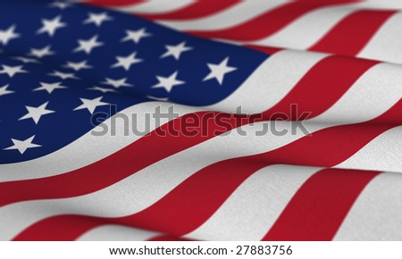 Flag of the USA waving in the wind with very shallow depth of field - stock photo