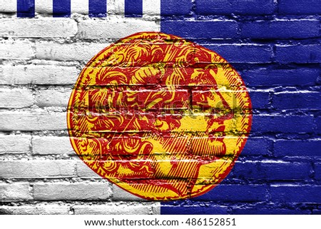 Flag of Thessaloniki, Greece, painted on brick wall